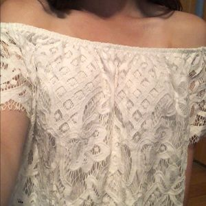 Express Tops - White lace top